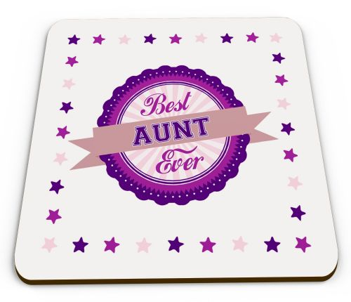 Best... Ever Novelty Glossy Mug Coasters - Pink/Purple